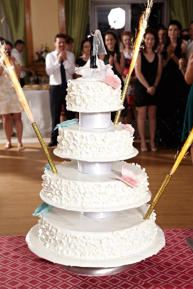 tortul de nunta admirat de invitati