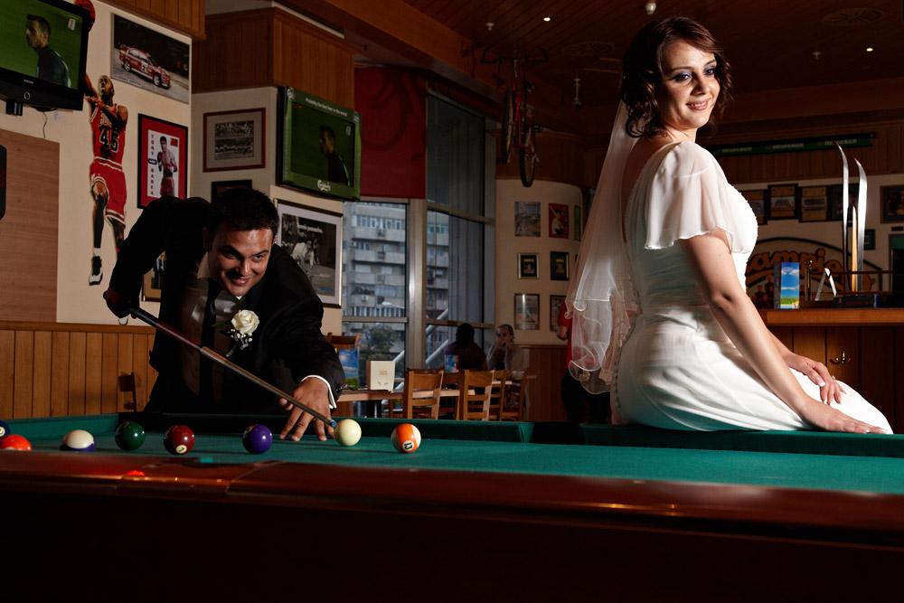 nunta la o partida de biliard